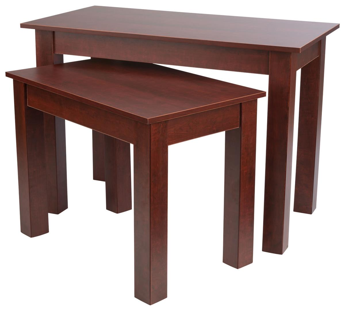 Wood Retail Display Tables ~ Cherry nesting table sets wood grain finish