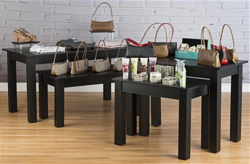Black Nesting Tables in Use