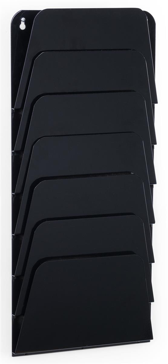 Wall Mounted Tiered Black File Rack 7 Tier Steel