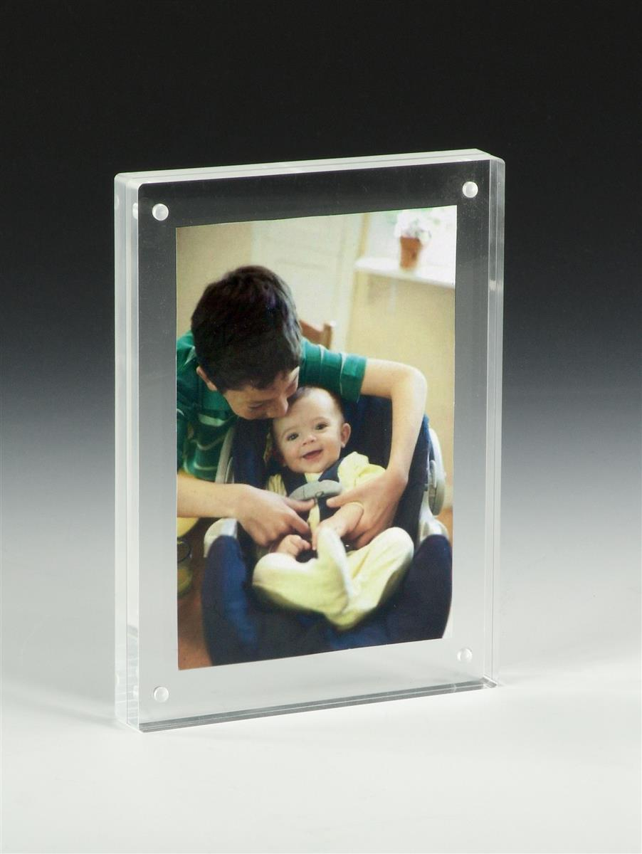 5 x 7 clear photo frames transparent sign holders for counters. Black Bedroom Furniture Sets. Home Design Ideas