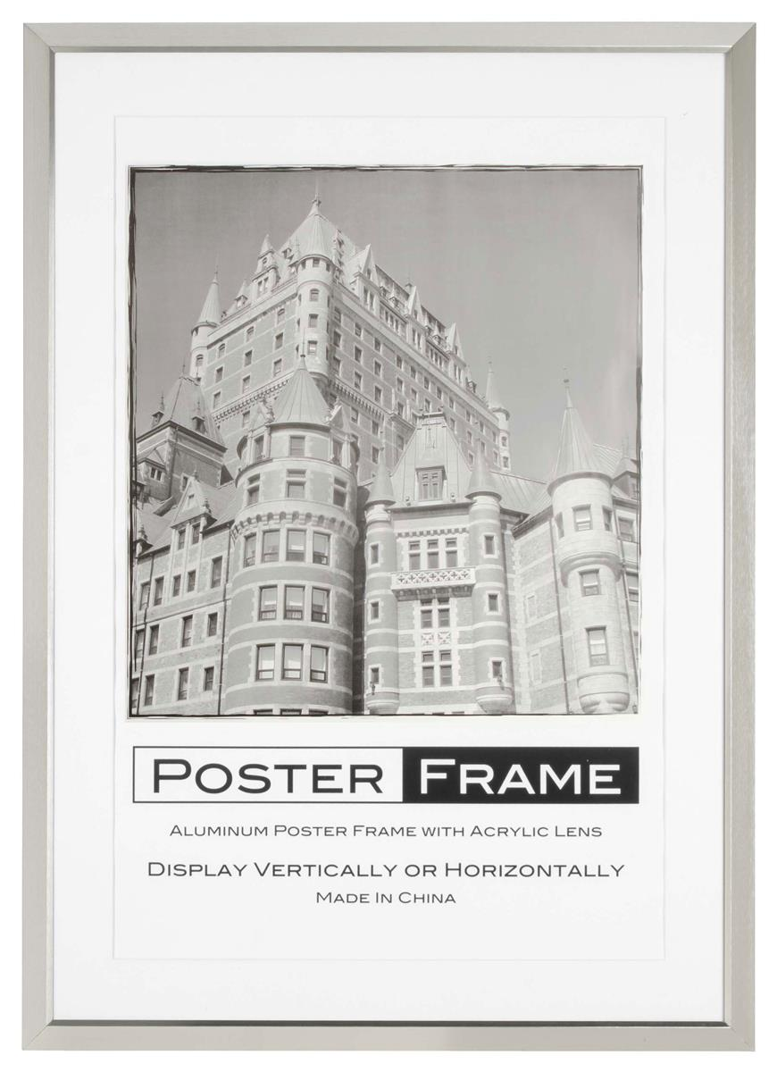 This 24x36 Matted Frame Has A Brush Silver Finish To