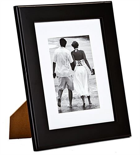 Matted 4x6 Black Wood Picture Holder | Removable White Mat