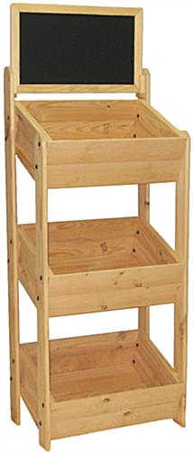 Wood Retail Crate Stand Natural Rustic 3 Shelf Rack