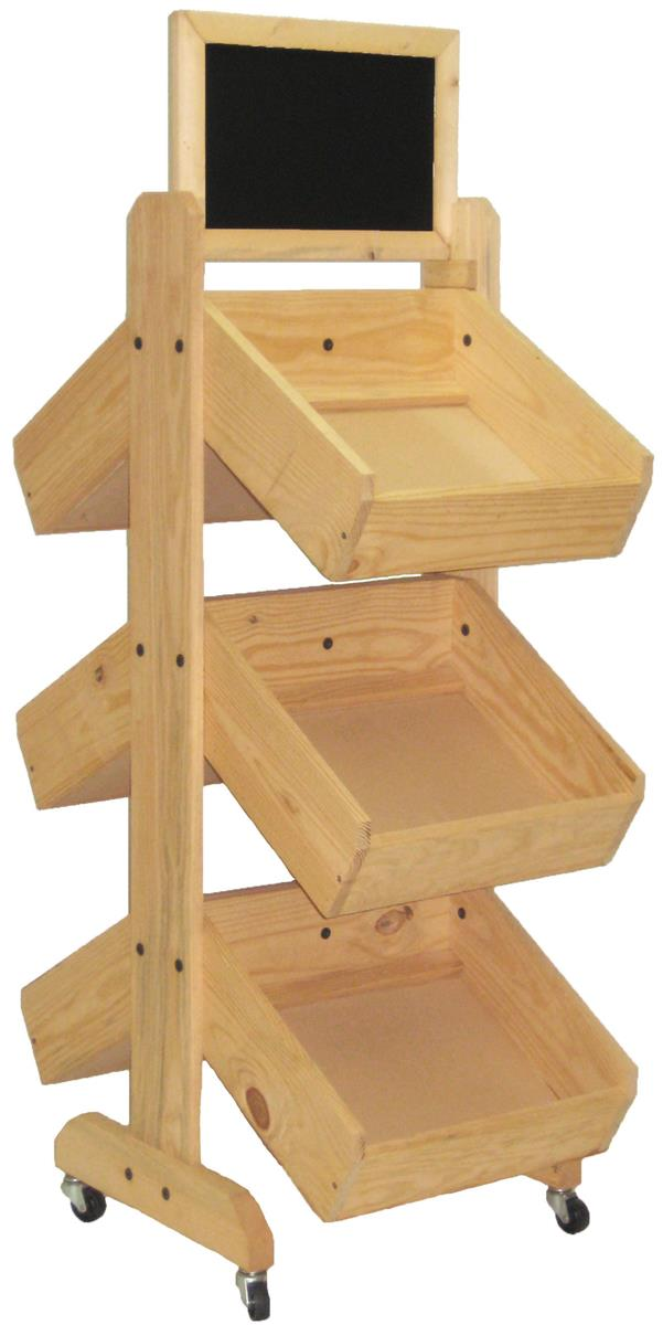 Wooden Bin Display Racks Oak Finish