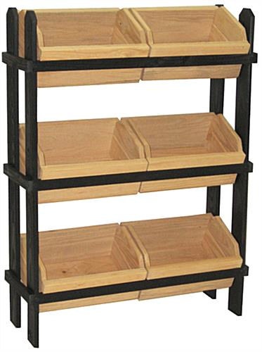 Tiered Crate Display with Black Solid Pine Frame