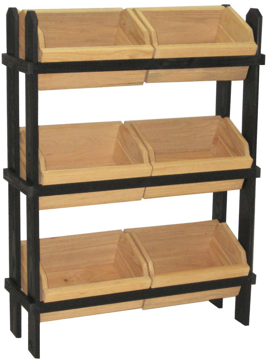 Tiered Wooden Bin Displays Angled Design