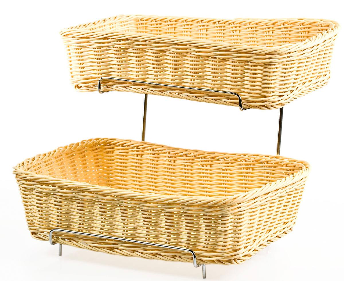 2 Basket Tiered Stand 2 Rectangular 9 Quot X 6 Quot Storage Areas