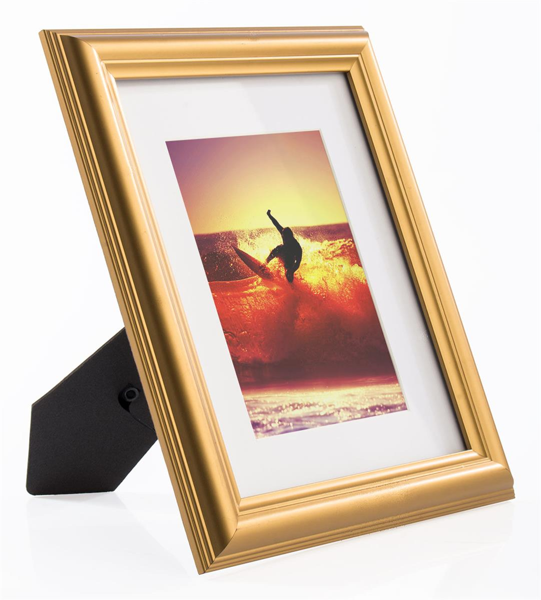 Gold Easel Back Picture Frame White Mat Is Removable