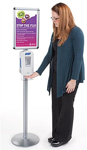 Hand Sanitizer Stand Dispensing Station With Sign Frame