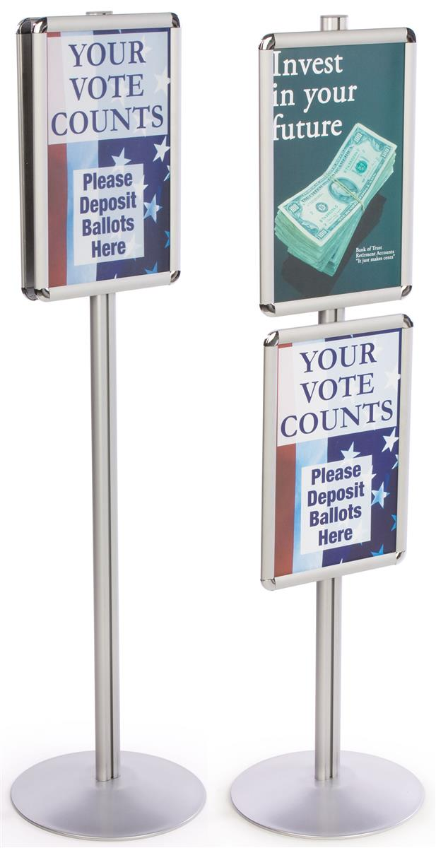 Silver Display Stands W 2 Snap Open 11 X 17 Sign Frames