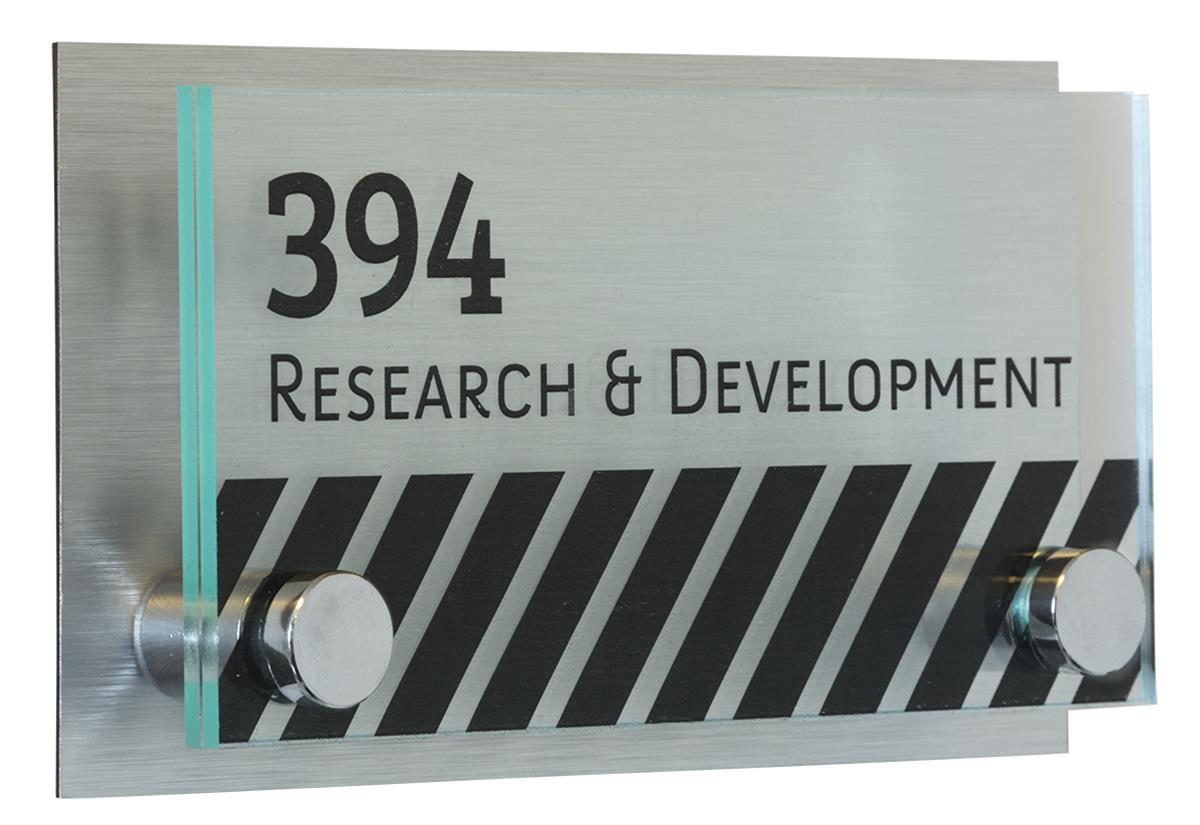 Door Plate With Chrome Standoffs Name Amp Number Plaque