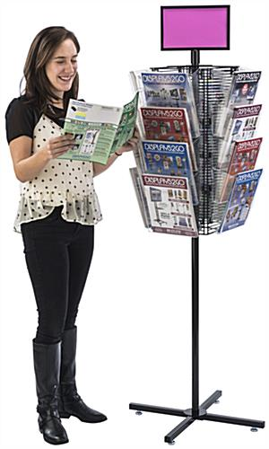 Rotating Grid Rack with Literature Holders Revolves
