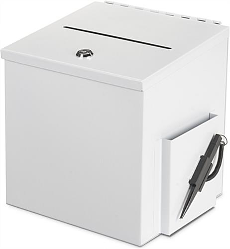 White Donation Box with Pen and Suggestion Card Holder