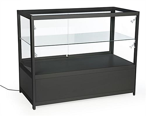 display cases with storage locking base and glass doors. Black Bedroom Furniture Sets. Home Design Ideas