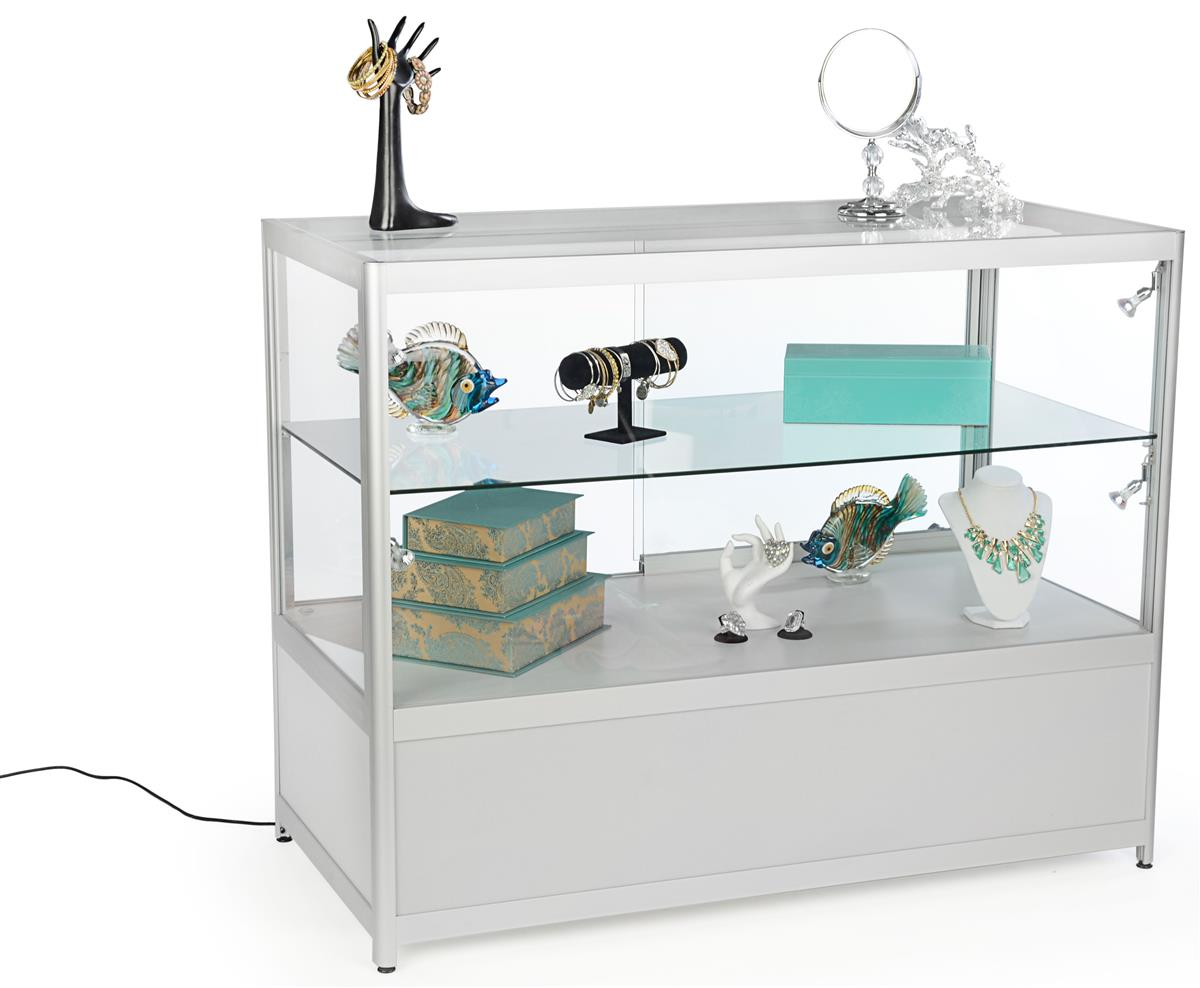 silver glass retail counters for sale locking case storage. Black Bedroom Furniture Sets. Home Design Ideas