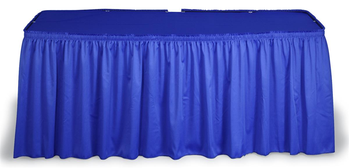 This Blue Table Skirt For Trade Shows Makes Tables Stand