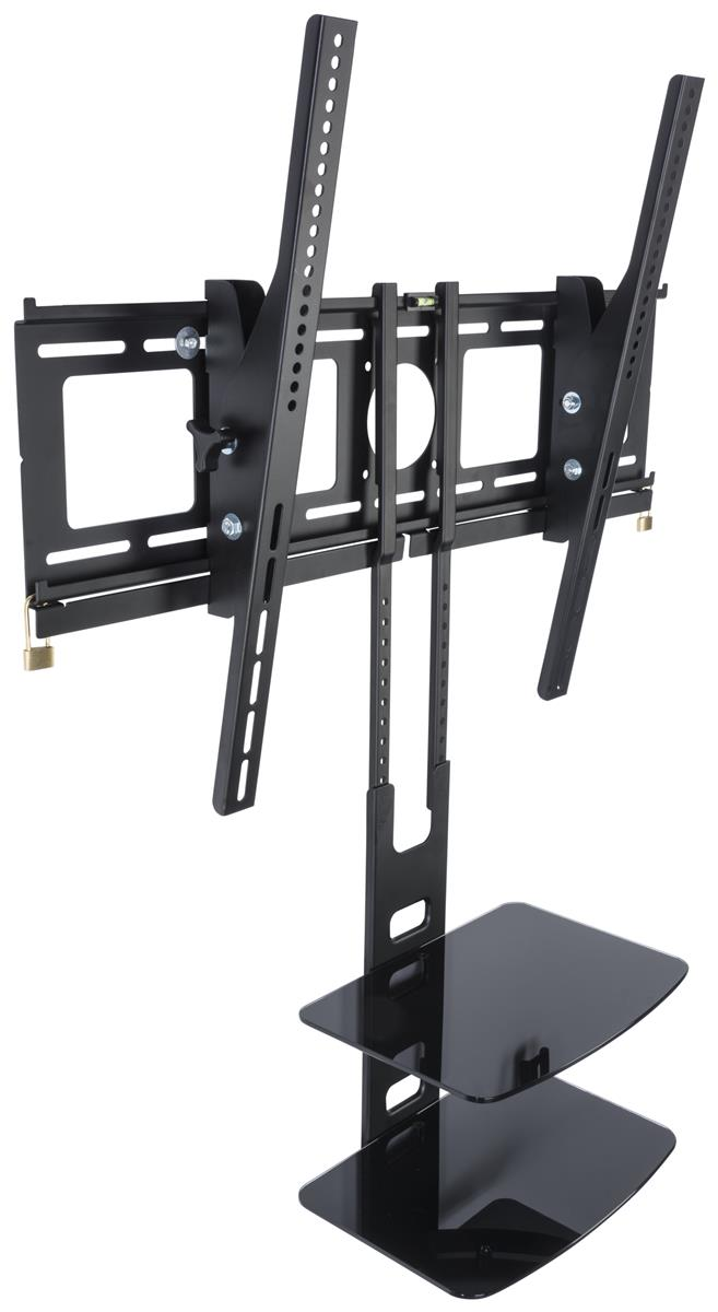 flat screen wall mount display with hanging shelves black. Black Bedroom Furniture Sets. Home Design Ideas