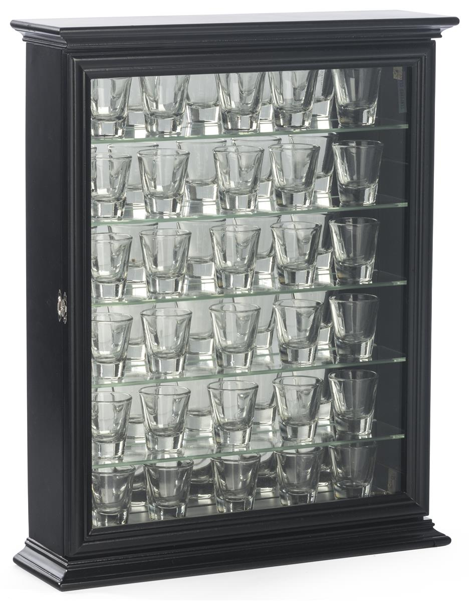 Black Shot Glass Display Cases Crown Molding Detail