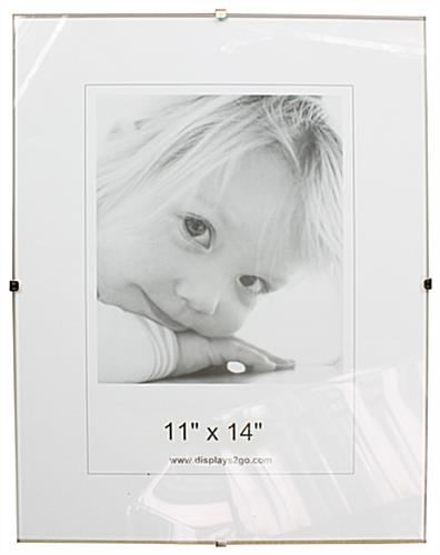 Glass Clip Picture Frame | Frameless Photo & Sign Holder - Wall