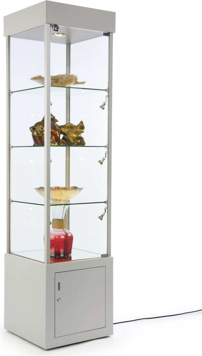 storage tower retail display case locking silver frame. Black Bedroom Furniture Sets. Home Design Ideas