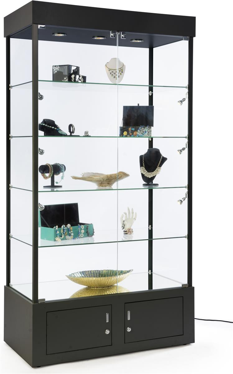 Black Display Tower W Base Storage Curio Cabinet For Retail