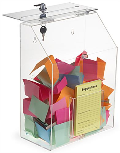 Clear Suggestion Box with 1 Pocket & Ballot Slot