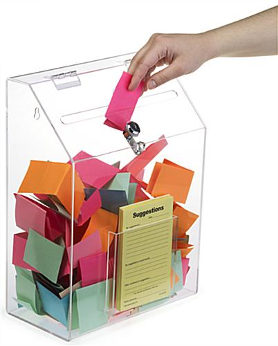 Clear Suggestion Box with 1 Pocket - Large Capacity
