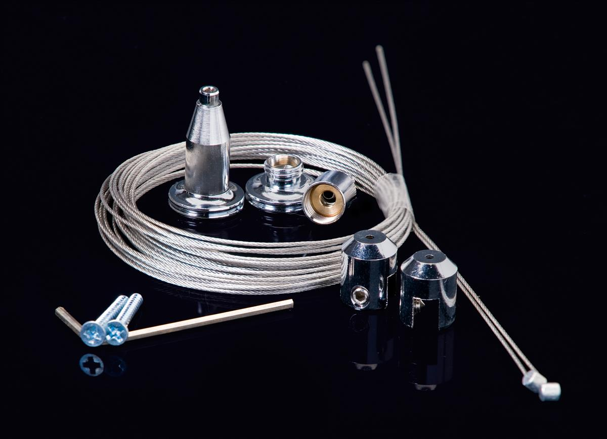 This Cable Hanging System Has A Satin Silver Finish This