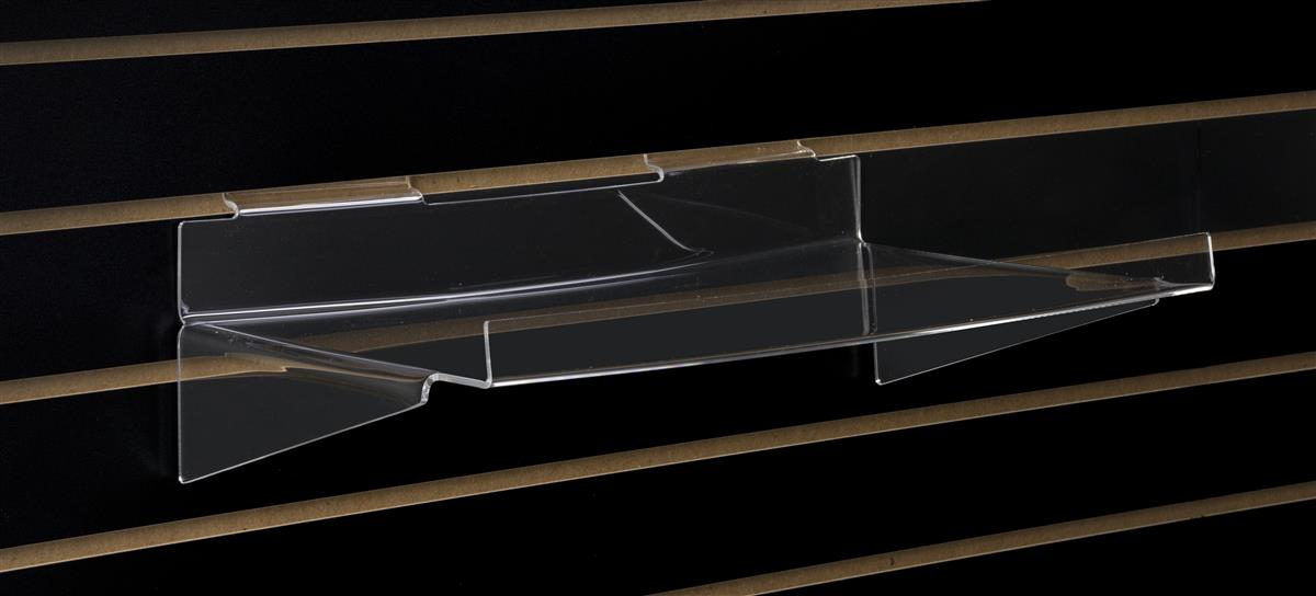 This Acrylic Slatwall Shelf Features A Lip To Keep