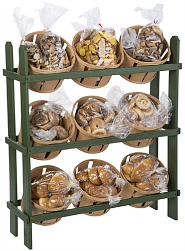 Wooden Basket Display Stand 9 Natural Finish Bins