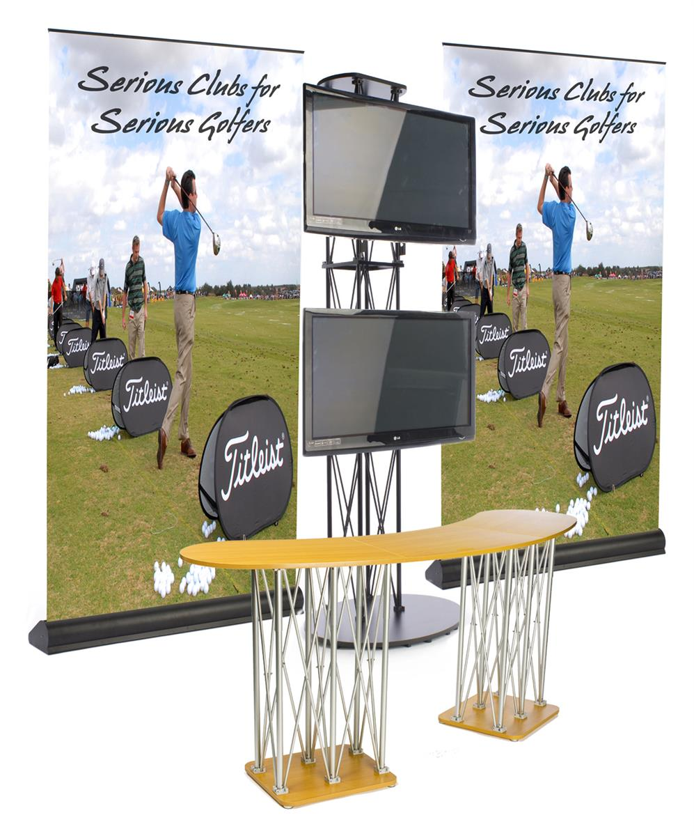 Portable Exhibition Booth Sia : This tv stand includes two large banners for custom