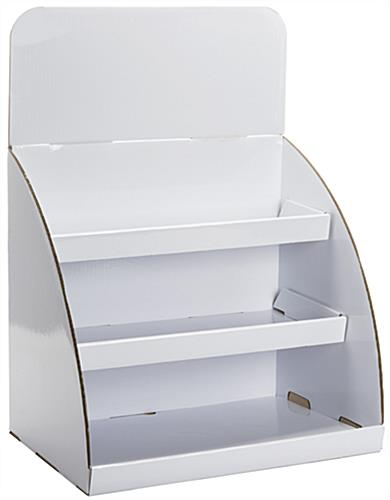 Cardboard counter shelf displays 3 tier curved stand for Table top display ideas