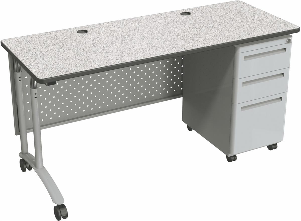 Modesty Front Mobile Work Desk Gray W 3 Locking Drawers