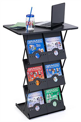 Collapsible Magazine Counter with 6 Literature Pockets