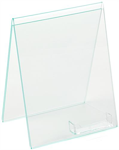Bent Acrylic Sign Holder with Business Card Pocket