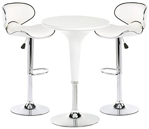 White Trade Show Table And Chairs With Chrome Accents ...