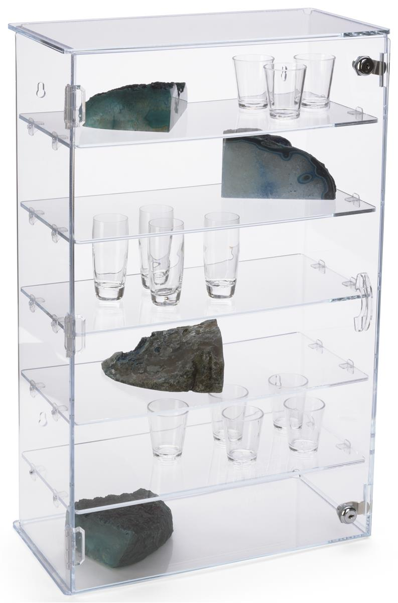 Vertical Acrylic Countertop Display Case Clear 5 Shelf