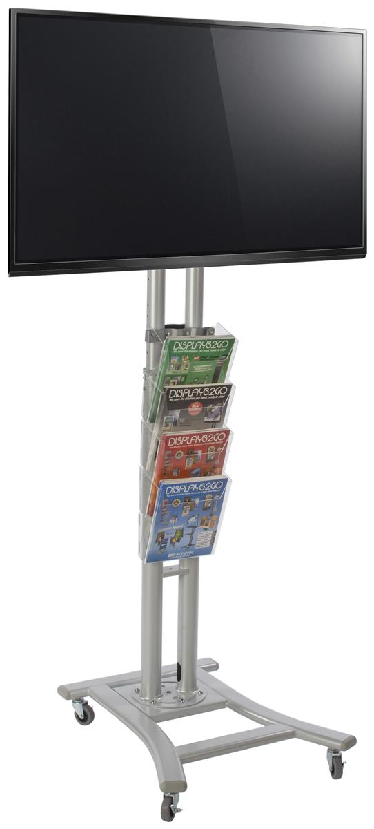 Mobile Flat Screen Holder With Storage 4 Acrylic Pockets