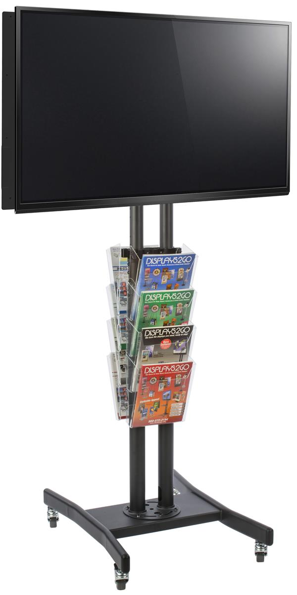 Double Sided Flat Screen Display W 8 Pockets Media Rack