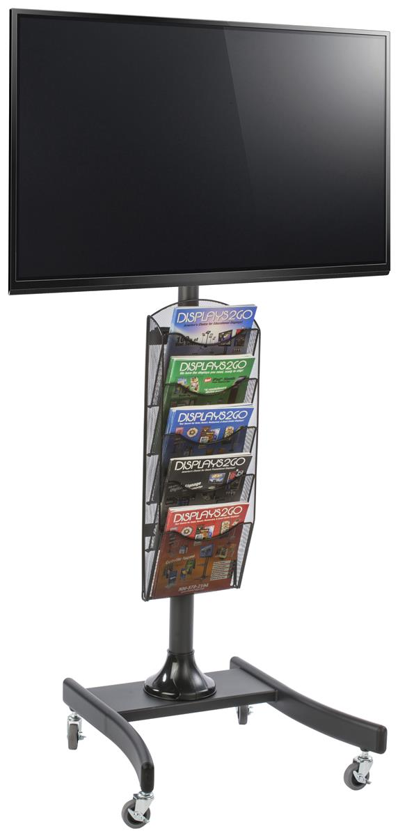 Portable Monitor Stand With Literature Rack Black 5 Pocket