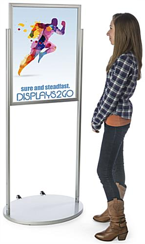 Silver 22 x 28 Wheeled Poster Stand, Aluminum Frame