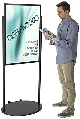 Black 24 x 36 Poster Stand with Wheels & PVC Lens