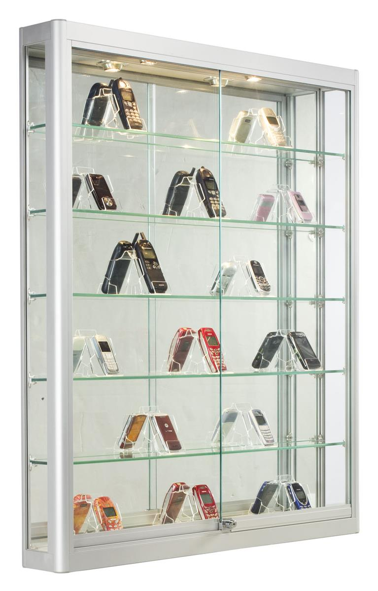 Locking Wall Retail Showcase Silver Aluminum Framing