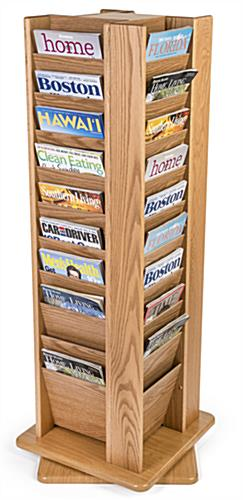 Magazines in revolving wood display