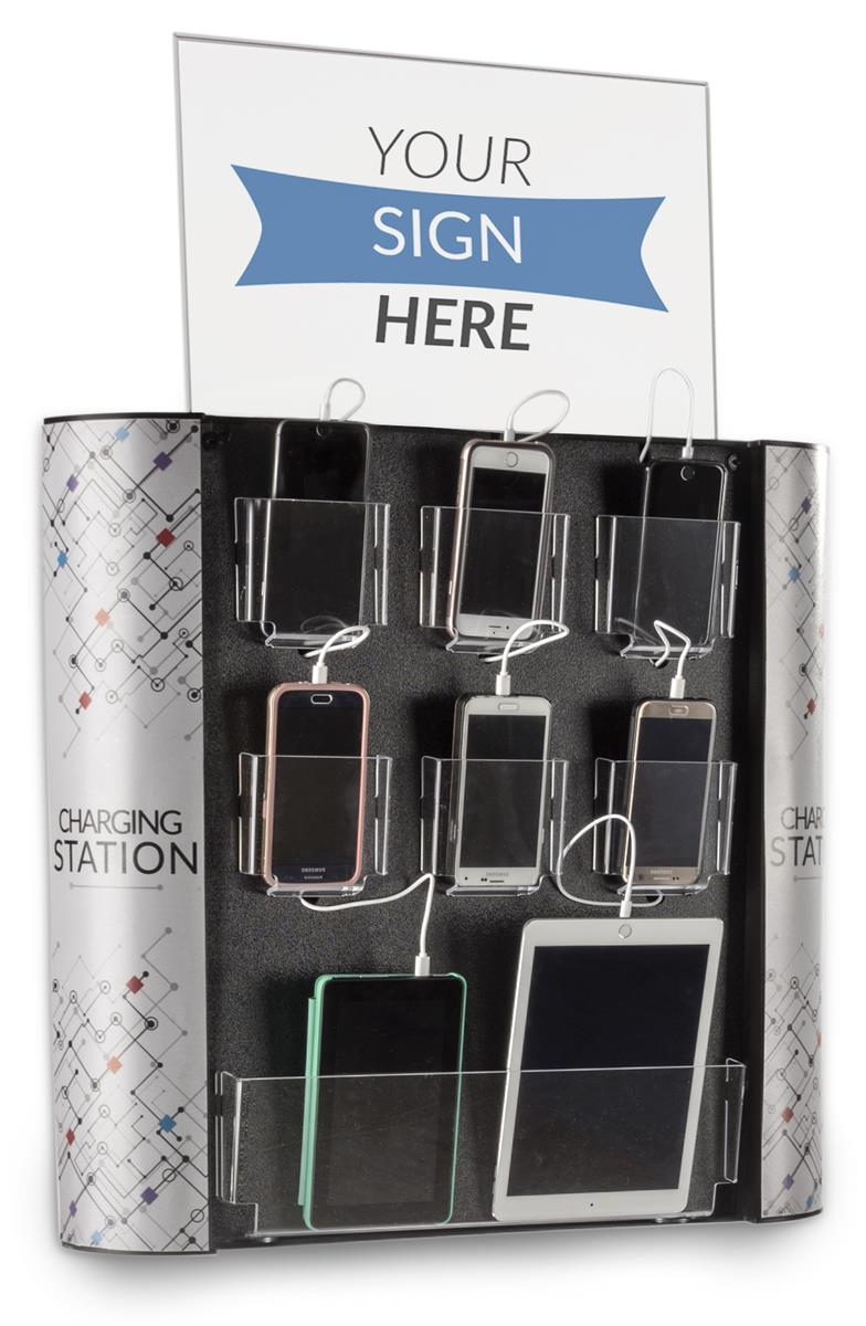 Retail Charging Kiosk 7 Cell Phones Or Tablet Pockets