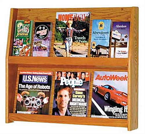 2-Tiered Wooden Wall Magazine Rack