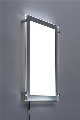 Illuminated LED Wall Frame | 11x17 Silver Standoffs & Border