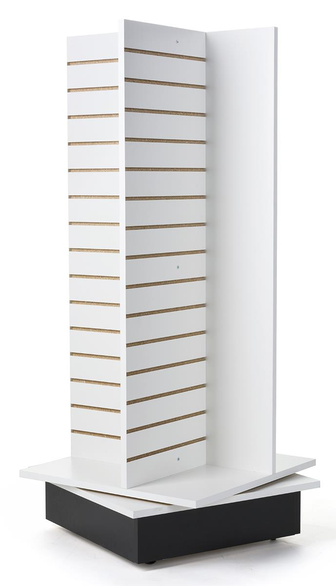 Rotating Slatwall Kiosks White Finish