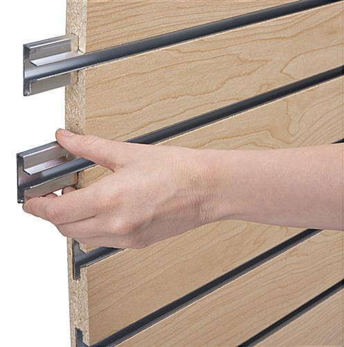 Slatwall Panel System Includes Heavy Capacity Metal Inserts